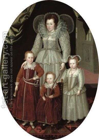 Portrait Of Anne, Lady Wentworth (d.1625), Wife Of Henry, 3rd Baron Wentworth (d.1593), And Her Children, Thomas (1591-1667), Jane (b.1592) And Henry (1594-1644) by (after) Marcus The Younger Gheeraerts - Reproduction Oil Painting