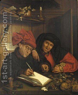 The Misers 2 by (after) Marinus Van Reymerswaele - Reproduction Oil Painting