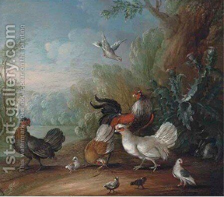 Chickens, doves and cockerels in a landscape by (after) Marmaduke Cradock - Reproduction Oil Painting