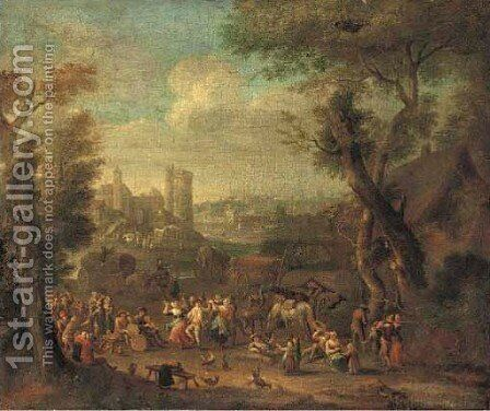 A wooded landscape with travellers making merry in a clearing by (after) Mathys Schoevaerdts - Reproduction Oil Painting