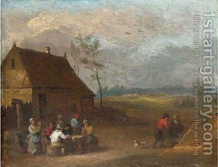A landscape with peasants smoking around a table outside a farmhouse by (after) Mathys Schoevaerdts - Reproduction Oil Painting