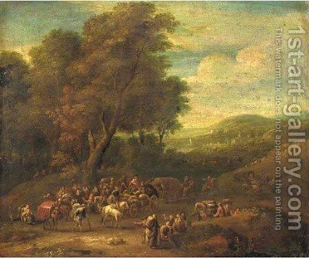 A wooded landscape with a caravan of travellers in a clearing, a town beyond by (after) Mathys Schoevaerdts - Reproduction Oil Painting
