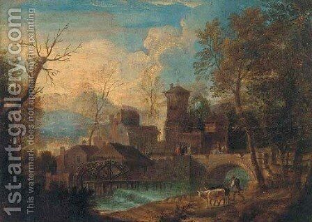 An Italianate river landscape with a drover and his cattle on by (after) Mathys Schoevaerdts - Reproduction Oil Painting