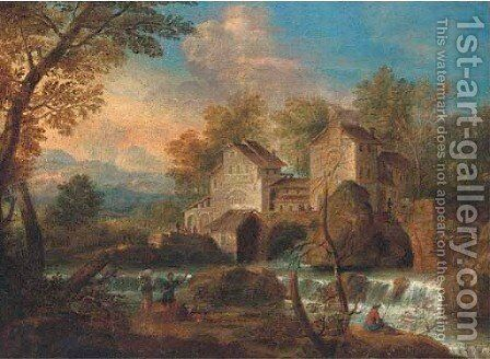 An Italianate river landscape with peasants on a track, an angler and a town beyond by (after) Mathys Schoevaerdts - Reproduction Oil Painting