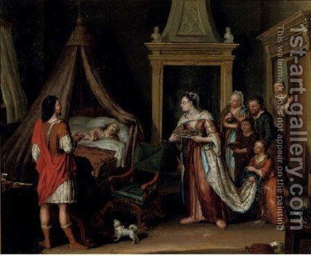 The reconciliation of Absalon with his father, King David, through the mediation by (after) Matthijs Naiveu - Reproduction Oil Painting
