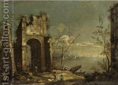 Capriccio Scene Of The Venetian Laguna With Figures Before Classical Ruins 2 by (after) Michele Marieschi - Reproduction Oil Painting