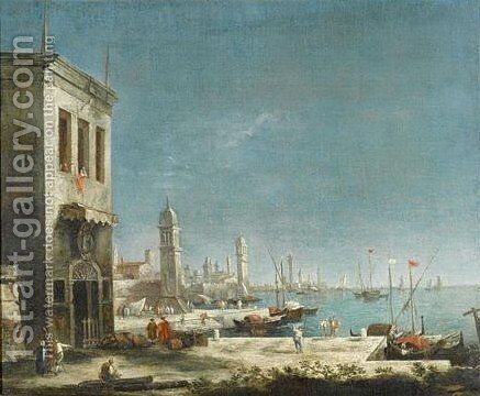 A Venetian Capriccio, With Figures On The Quay In The Forground, With Shipping Beyond by (after) Michele Marieschi - Reproduction Oil Painting