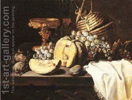 A gold tazza, a wine glass, a wicker bottle, a melon, grapes by (after) Michele Pace Del (Michelangelo Di) Campidoglio - Reproduction Oil Painting