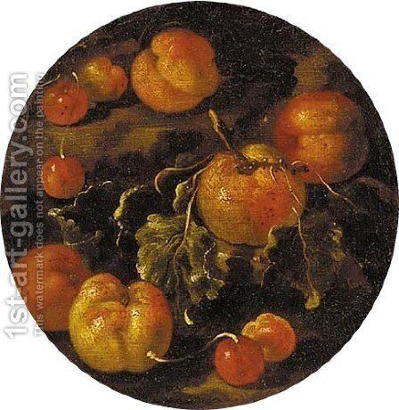 Apples, peaches and cherries on a ledge by (after) Michele Pace Del (Michelangelo Di) Campidoglio - Reproduction Oil Painting