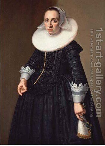 Portrait of a lady 2 by (after) Nicolaes Eliasz. Pickenoy - Reproduction Oil Painting