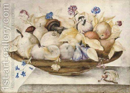 Still life with oranges, lemons, figs, mushrooms, roses and carnations in a brass dish, a parrot eating a cherry below by (after) Octavianus Montfort - Reproduction Oil Painting