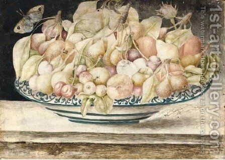 Still life with cherries, peaches and figs in a blue and white dish, a butterfly above by (after) Octavianus Montfort - Reproduction Oil Painting