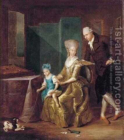 Group portrait of a husband and wife in a drawing room by (after) Of Arthur Alfred Davis - Reproduction Oil Painting