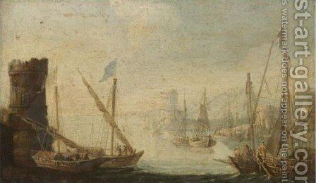 Mediterranean Harbour Scene 2 by (after) Orazio Grevenbroeck - Reproduction Oil Painting