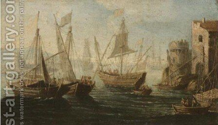 Mediterranean Harbour Scene by (after) Orazio Grevenbroeck - Reproduction Oil Painting
