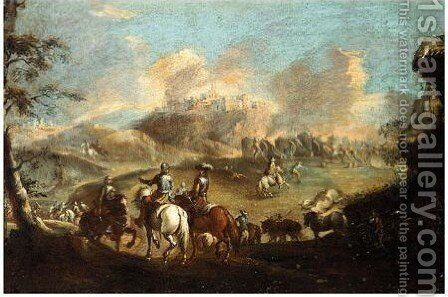 Cavaliers Before A Town Under Siege by (after) Pandolfo Reschi - Reproduction Oil Painting