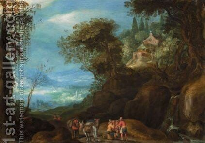 A Landscape With Falconers, A Horse And Cart And A Shepherd Making Music Near His Flock by (after) Paul Bril - Reproduction Oil Painting