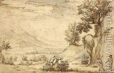 A landscape with two figures by (after) Paul Bril - Reproduction Oil Painting