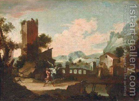 A mountainous river landscape with Jacob wrestling the Angel by (after) Pedro Orrente - Reproduction Oil Painting