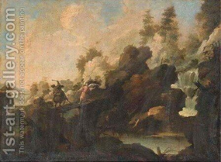 A rocky river landscape with Balaam and the Angel by (after) Pedro Orrente - Reproduction Oil Painting