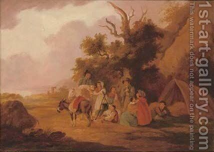 Travellers at rest in a wooded landscape by (after) Peter Le Cave - Reproduction Oil Painting