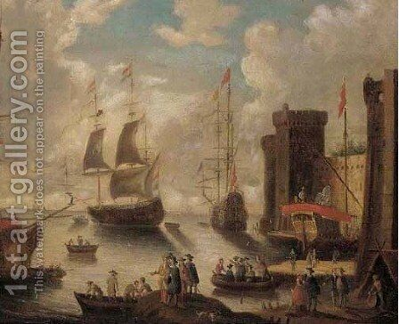 A fortified harbour with sailors and merchants on a quay, shipping beyond by (after) Peter Van Den Velde - Reproduction Oil Painting
