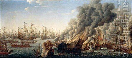A Naval Action With A French Fleet Advancing And Spanish Men-O'-War On Fire In The Foreground by (after) Pierre Puget - Reproduction Oil Painting