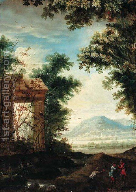 A capriccio of classical ruins in an extensive landscape by (after) Pierre-Antoine Patel - Reproduction Oil Painting