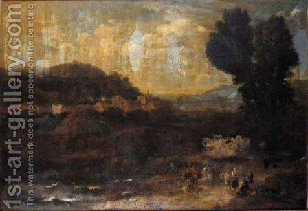 An Italianate Landscape With Figures And Mules In The Foreground by (after) Pieter Bout - Reproduction Oil Painting