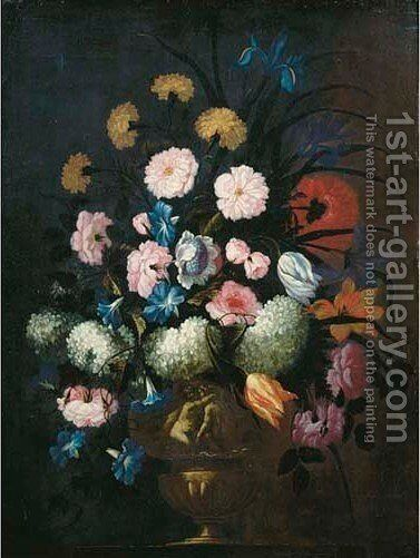 Carnations, pink roses, irises and other flowers in a sculpted vase on a ledge by (after) Pieter Casteels - Reproduction Oil Painting