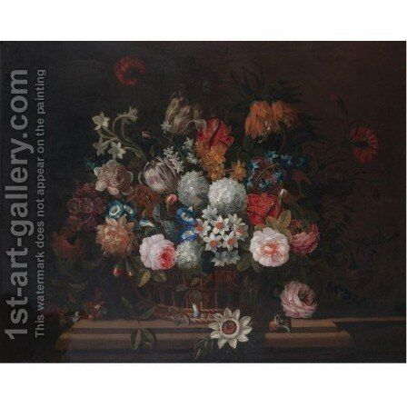 Still Life With A Bouquet Of Flowers In A Basket On A Stone Ledge by (after) Pieter Hardime - Reproduction Oil Painting