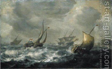 Two Dutch Smalships And A Pink With An English Frigate Beyond, Off A Coast In Heavy Seas by (after) Pieter The Elder Mulier - Reproduction Oil Painting