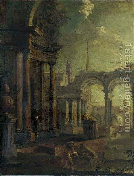 Architectural capriccio by (after) Pietro (Il Mirandolese) Paltronieri - Reproduction Oil Painting