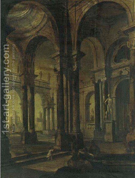 Architectural capriccio 2 by (after) Pietro (Il Mirandolese) Paltronieri - Reproduction Oil Painting