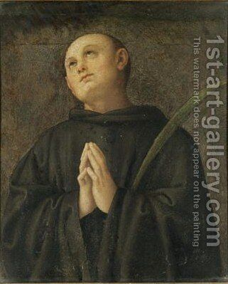 Saint Placidus by (after) Pietro Vannucci Perugino - Reproduction Oil Painting