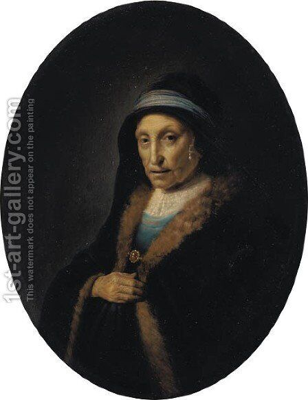 Portrait of a lady 2 by (after) Rembrandt Van Rijn - Reproduction Oil Painting