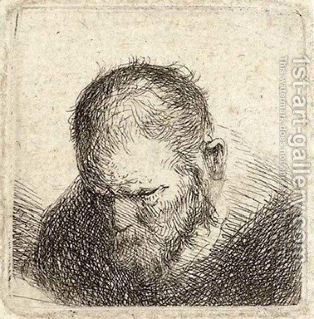 A bearded man looking down by (after) Rembrandt Van Rijn - Reproduction Oil Painting