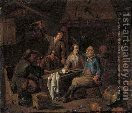 Peasants smoking and drinking in an interior by (after) Richard Brakenburg - Reproduction Oil Painting