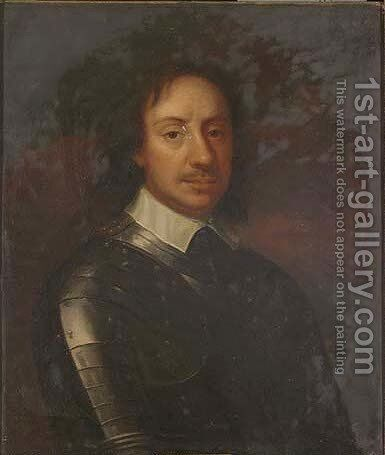 Portrait of Oliver Cromwell (1599-1658), half-length, in armour 2 by (after) Robert Walker - Reproduction Oil Painting