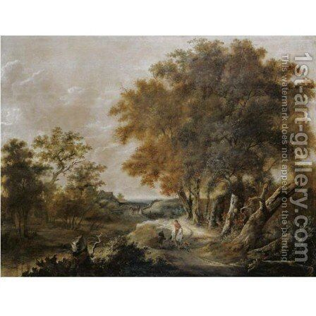 A Wooded Landscape With A Rider On A Path Conversing With A Peasant Girl by (after) Roelof Van Vries - Reproduction Oil Painting
