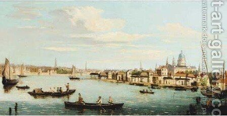 St. Pauls Cathedral from the Thames by (after) Samuel Scott - Reproduction Oil Painting