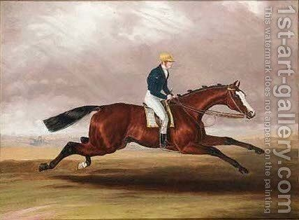 A bay racehorse with jockey up by (after) Samuel Spode - Reproduction Oil Painting
