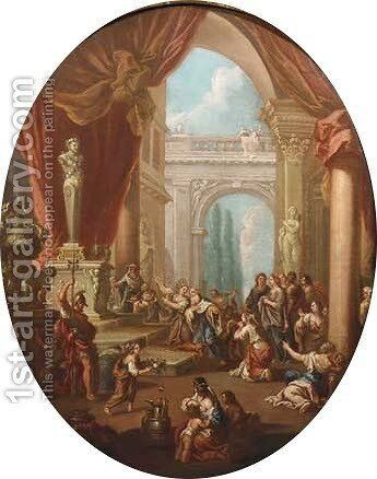 The Sacrifice of Jephtha's daughter by (after) Sebastiano Ricci - Reproduction Oil Painting