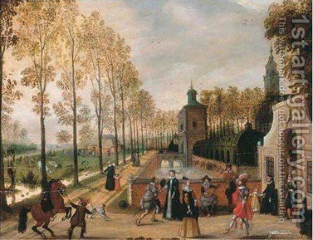 Elegant company making merry at the gate by (after) Sebastien Vrancx - Reproduction Oil Painting