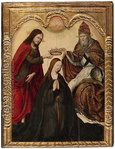 The Coronation of the Virgin by (after) Simon Marmion - Reproduction Oil Painting