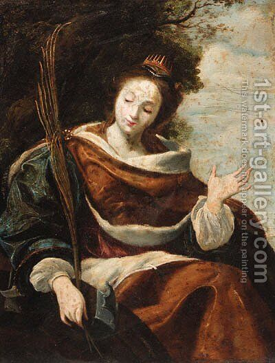 Saint Catherine by (after) Simon Vouet - Reproduction Oil Painting