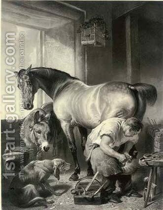 Shoeing by (after) Sir Edwin Henry Landseer - Reproduction Oil Painting