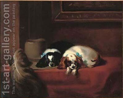 The cavaliers pets by (after) Sir Edwin Henry Landseer - Reproduction Oil Painting