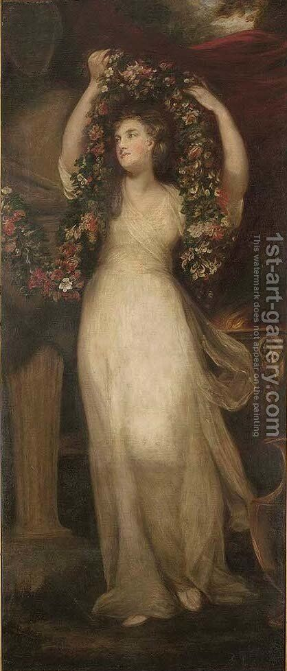 Portait of a Montgomery sister, full-length, in a white dress, holding a garland of flowers 2 by (after) Sir Joshua Reynolds - Reproduction Oil Painting