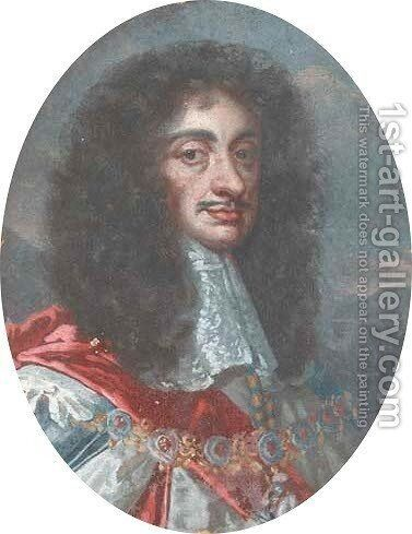 Portrait of Charles II, bust-length, in a star and garter chain and lace collar by (after) Sir Peter Lely - Reproduction Oil Painting